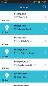 Locations on app